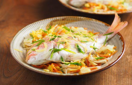 【連子鯛レシピ】連子鯛の酒蒸しをオリーブオイルドレッシングで